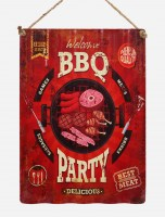BBQ Party XL origineel golfplaat metalen bord
