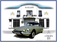 Citroen DS19 Garage metalen wandbord met facet rand