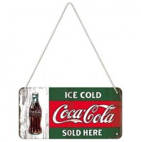 Coca Cola Bottle Sold Here metalenbord met koord