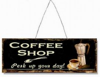 Coffee Shop Perk Up Your Day metalen reclamebord