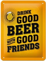 Drink Good Beer metalenbord 20x15 cm