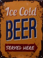 Ice Cold Beer Served Here XL gebold 3D metalen bord