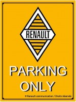 Renault parking only metalen wandbord met facet rand