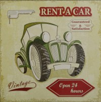 Rent A Car Vintage metalen reclamebord