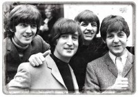 The Beatles Happy postcard 15x10 cm metaal