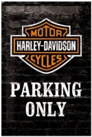 wandplaat 3D harley davidson parking only