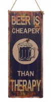 Beer Cheaper Than Therapy XXL golfplaat metalenbord