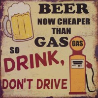 Beer Now Cheaper Than Gas metalen reclamebord