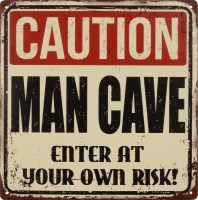 Caution Man Cave metalenbord