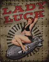 Pin Up Lady Luck Rocket metalenbord