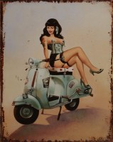 Pin Up Scooter Tattoo metalenbord