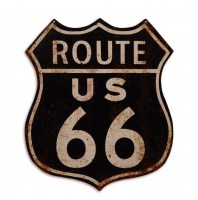 Route 66 Shield Black metalen bord