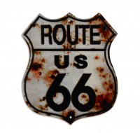 Route 66 Shield White metalenbord