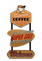 Superior Coffee Welcome XXXL metalen wandrek met 3 metalen 3D borden