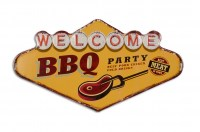 Welcome BBQ Party XL 3D metalenbord