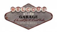 Welcome Dads Garage XL 3D metalenbord